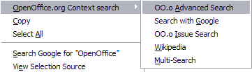 OpenOffice.org Extension Context Menu Screenshot