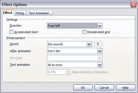 Effect option settings for a direction effect