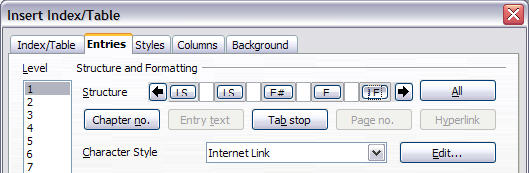 Hyperlink in table of contents