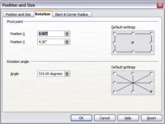 d u00e9placement  redimensionnement et rotation d u0026 39 un objet graphique