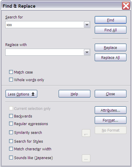 Figure 8: The Find & Replace dialog