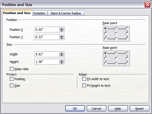 Position and Size dialog