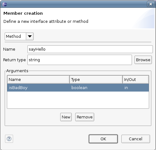 Interface member creation dialog