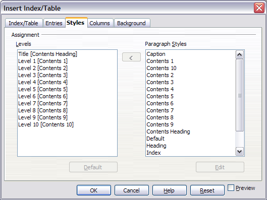 Styles page of Insert Index/Table dialog box