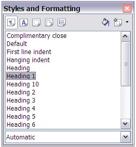 Figure 4: Styles and Formatting window in Writer