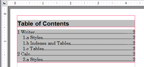 Table of contents with numbers