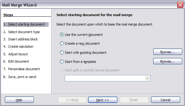 Using the mail merge wizard to create a form letter apache select starting document cheaphphosting Image collections