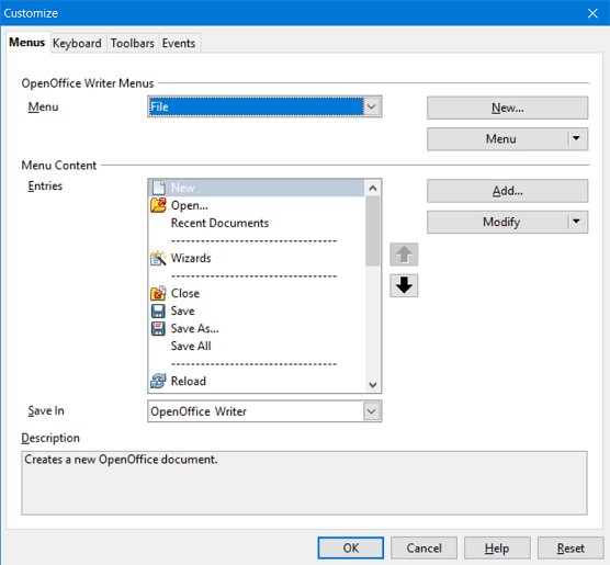 Figure 2. The Menus tab of the Customize dialog