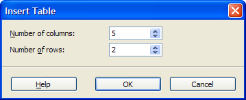 A preview of the Insert Table dialog