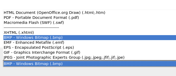 Section of the file selection list