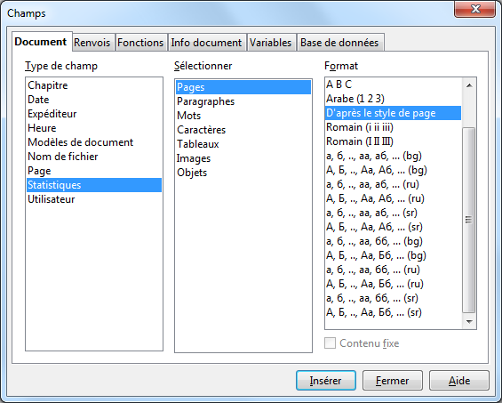 Fr documentation aoo4 user guides fr writer writer fields apache openoffice wiki - Pagination automatique open office ...
