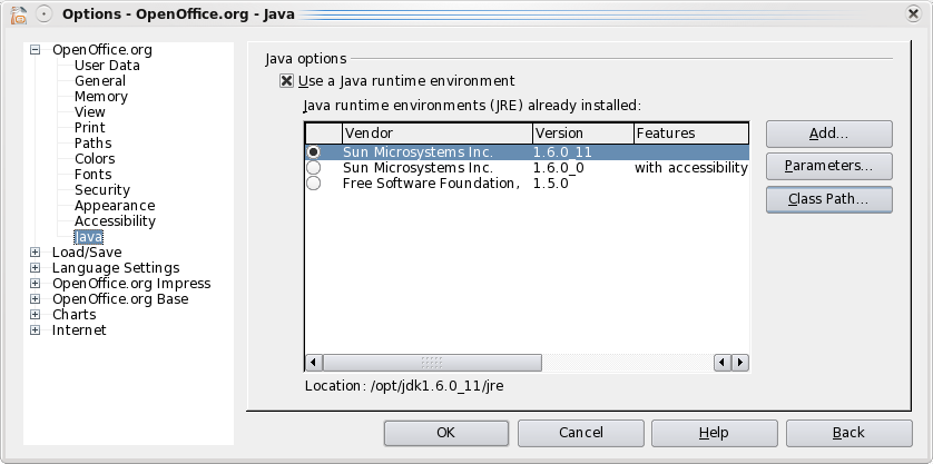 OOo JavaMediaFramework Tools Options Java.png