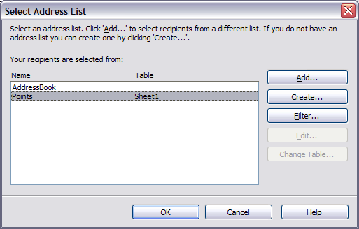 Select address list dialog