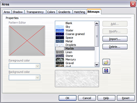 Bitmaps page of the Area fill dialog
