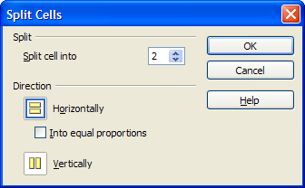"A preview of the ""Split Cells"" dialog"
