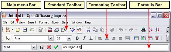 Menu Bar And Formatting Toolbar In Spreadsheet Editing Mode