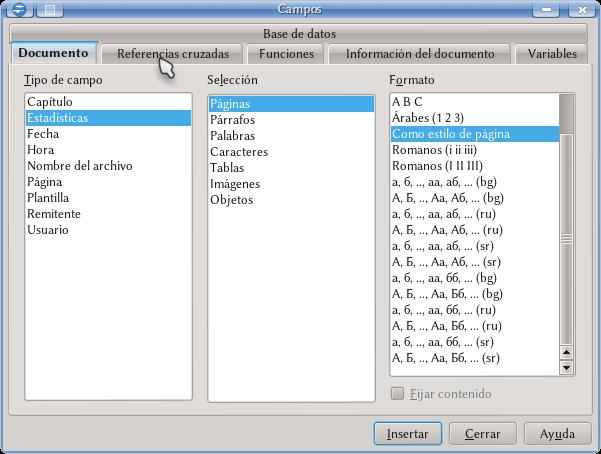 Numeración De Páginas Campos Variables Y Referencias Cruzadas Apache Openoffice Wiki