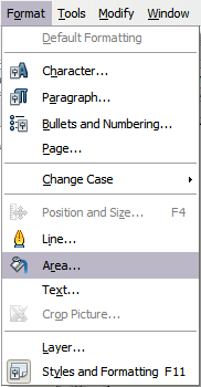 Figure 11: Displaying the Area dialog from the menu bar