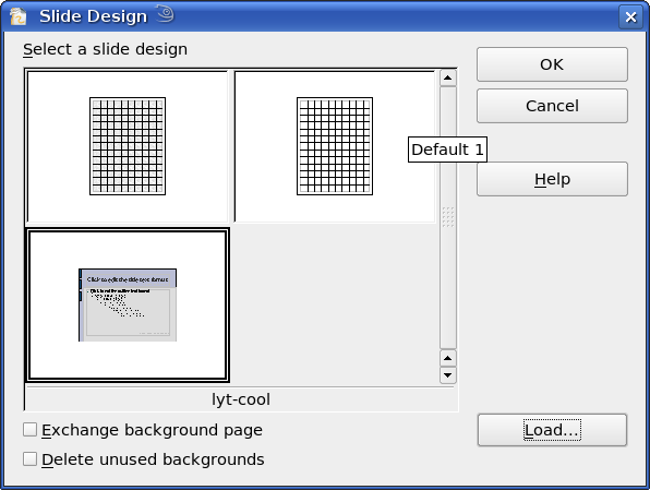Figure 5: Selecting a slide (page) design