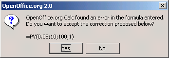 Figure 2: Function error message