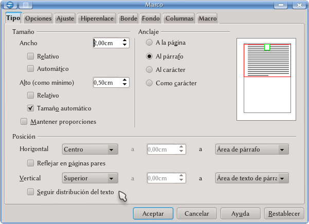Trabajando con marcos - Apache OpenOffice Wiki