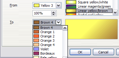 Gradient transition color selection