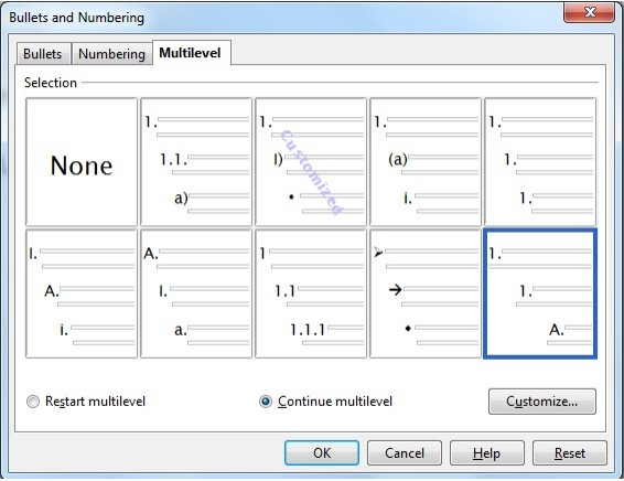 Numbering and Bullets Dialog