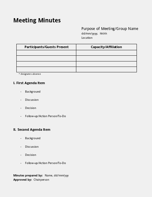 printable meeting minutes template .