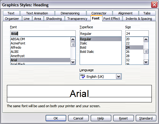 Graphics Style dialog