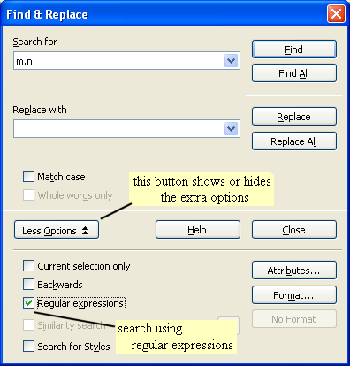 location of regular expression tick box