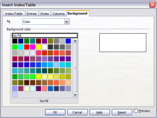 background page of insert indextable dialog box