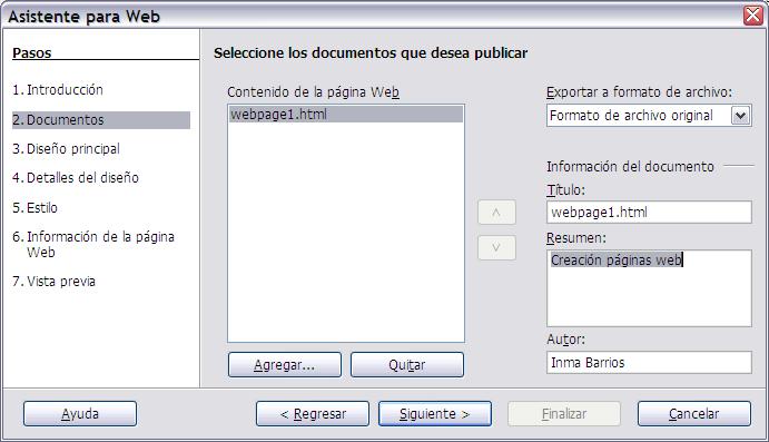 34cc771c9449 Guardar documentos Writer como páginas web - Apache OpenOffice Wiki