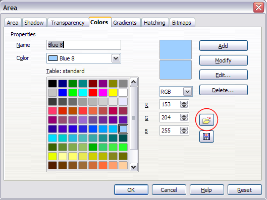 Figure 12. Changing the color palette
