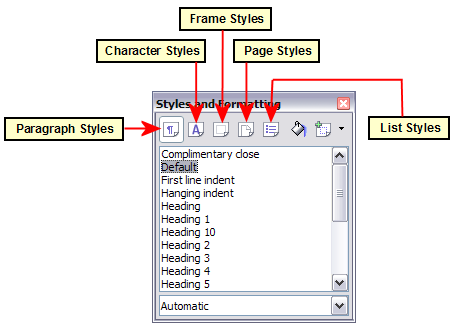 Styles and Formatting window