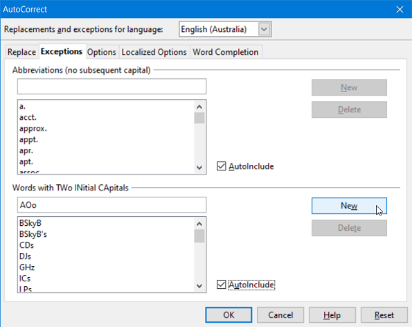 Figure 4: Exceptions tab of AutoCorrect dialog