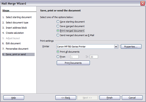 Printing the merged document