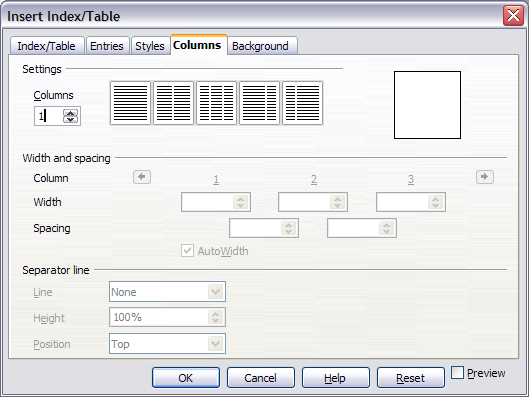 Columns page of the Insert Index/Table dialog box