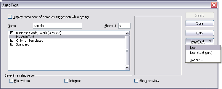 Creating a new AutoText entry