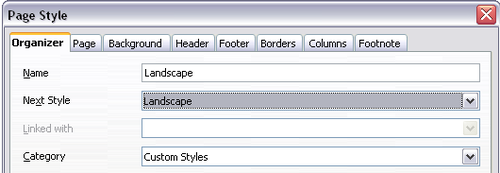 how to change page to landscape in openoffice