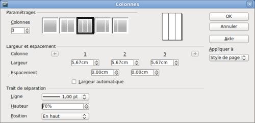 utilisation de colonnes pour la mise en page