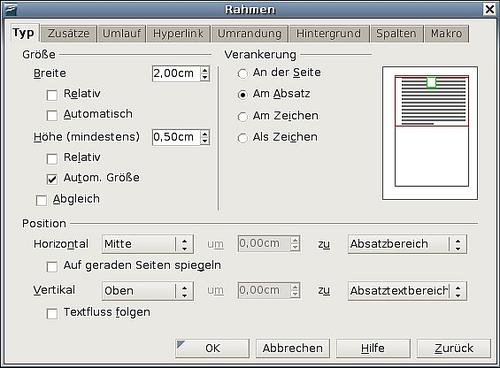 Rahmen für das Seitenlayout verwenden - Apache OpenOffice Wiki