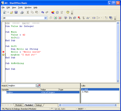 Basic Source Editor and Debugger - Apache OpenOffice Wiki