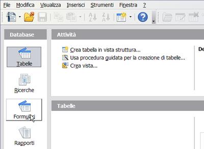 Creazione delle tabelle di un database apache openoffice for Tabelle open office