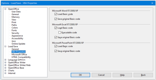 Figure 3: Choosing Load/Save VBA Properties