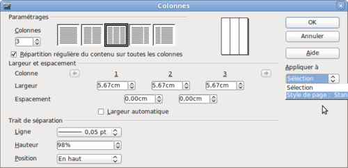 Comment faire 2 colonnes sur open office - Open office writer gratuit ...