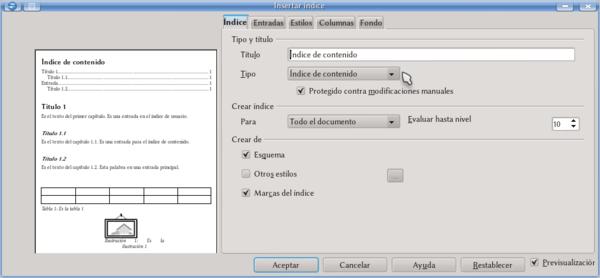Los índices En Writer Apache Openoffice Wiki