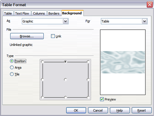 table format dialog inserting a graphic table background