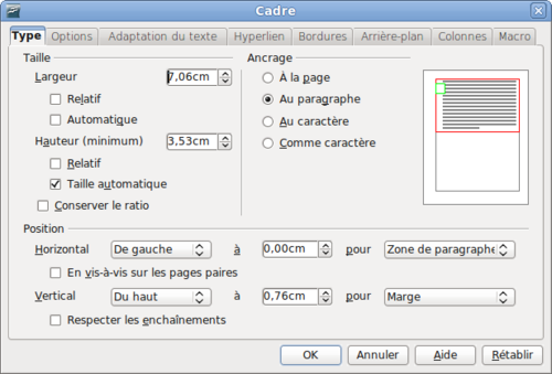 utilisation de cadres pour la mise en page apache openoffice wiki. Black Bedroom Furniture Sets. Home Design Ideas