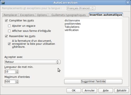 Utilisation De La Completion Des Mots Apache Openoffice Wiki