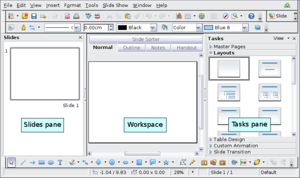 parts of the main impress window apache openoffice wiki